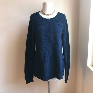 J. Crew Cable Knit Sweater In Midnight Navy